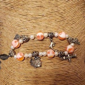 Jewelry - Nautical stretch bracelet pink and silver